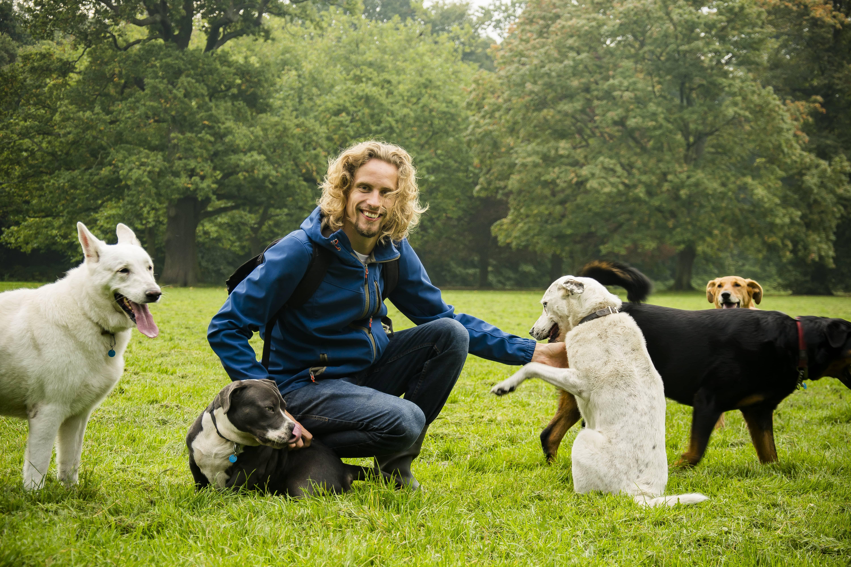 Maikel met roedel hondenopvang-min